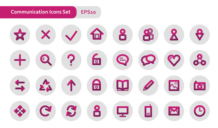 thick: Vector thick lines communications related icon set Illustration