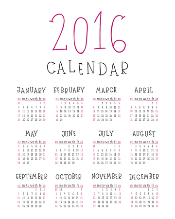 Simple 2016 year contour handwritten calendar in black and pink