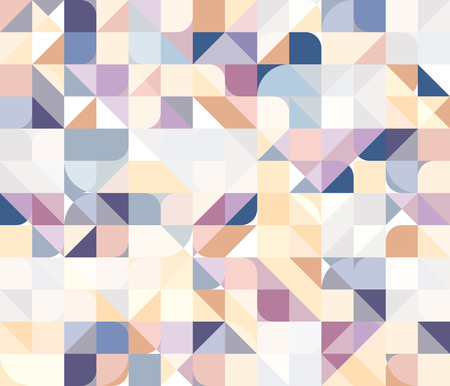 square detail: Vector seamless square triangle circle geometric pattern in pastel colors