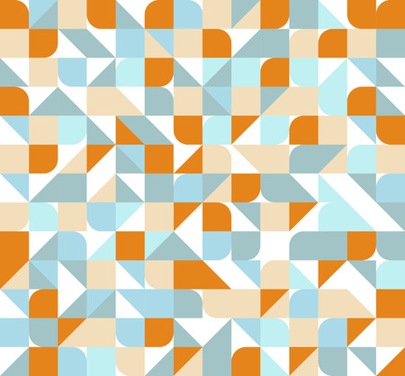 circles pattern: Vector seamless square triangle circle geometric pattern, orange and blue Illustration