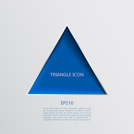 Vector abstract blue papercut triangle icon with shadows Illustration