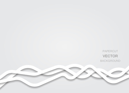 Abstract vector white background with papercut flat thick curvy lines