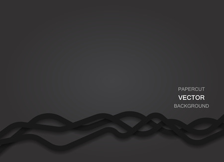 papercut: Abstract vector black background with papercut flat thick curvy lines