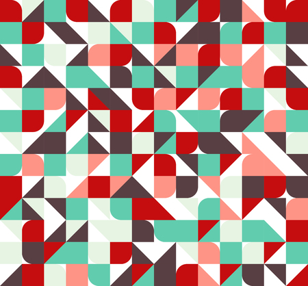 Vector seamless square triangle circle geometric pattern in bright colors Illustration