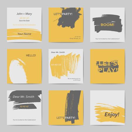 Abstracte hand getrokken stijl vierkante hipster briefkaarten in felle kleuren