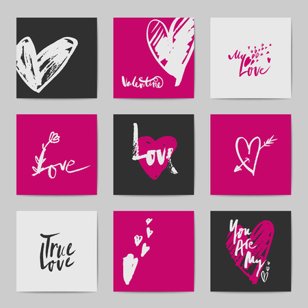 romance: Abstract  love and romance related postcards for Valentines Day