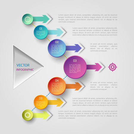 display problem: Vector infographic scheme with colorful circles, triangle and arrows Illustration