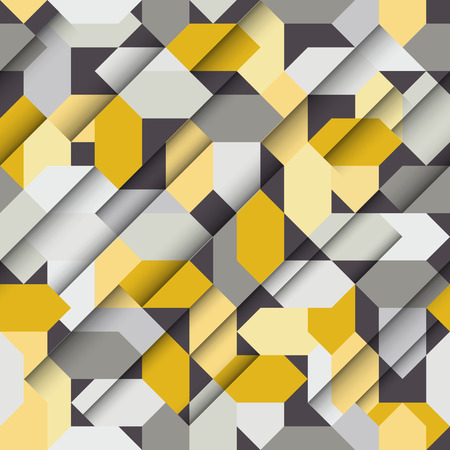 papercut: Vector seamless papercut geometric pattern with polygonal elements, yellow and grey