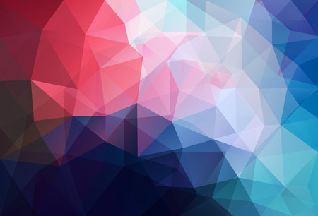 splinter: Vector triangle mosaic background with transparencies in blue and red