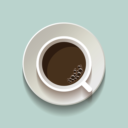 lay: Vector flat lay style coffee cup icon, top view on blue background