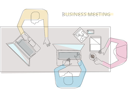 office computer: Outline vector business meeting illustration, people sitting at the long office table top view