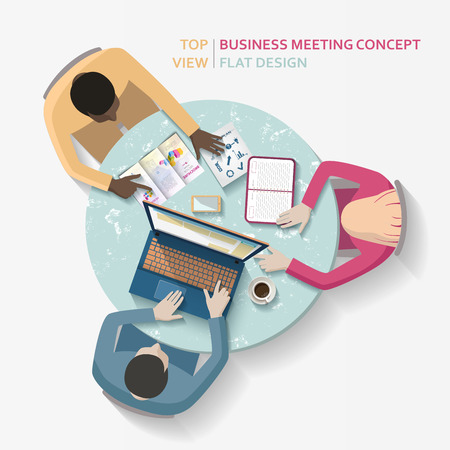 round table: Flat vector business meeting, people sitting at the round table
