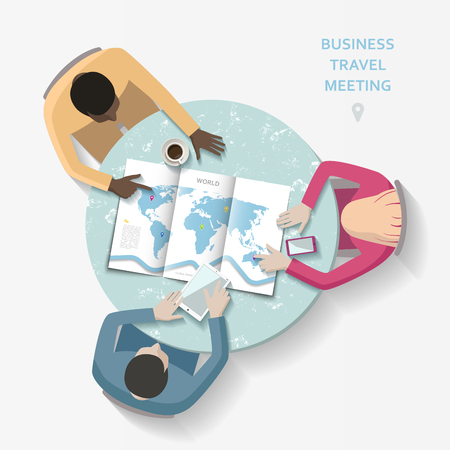 round table: Flat vector business travel meeting, people sitting at the round table with world map