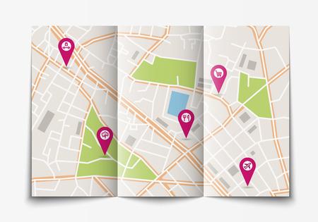 Vector platte papieren plattegrond van de stad liggen geopend, bovenaanzicht