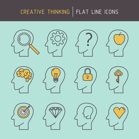 strategic planning: Flat line creative thinking human head icons of problem solving, goal targeting, achieving, creativity, strategic planning and learning.