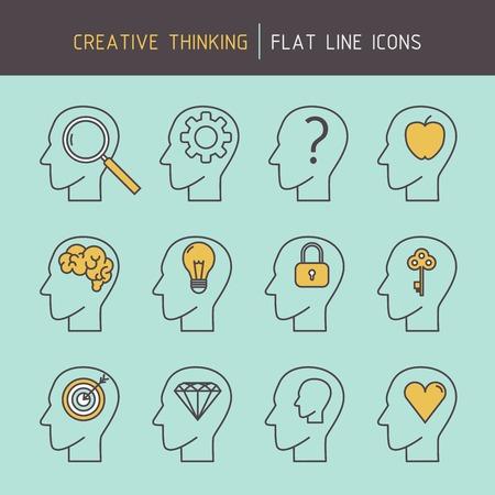 pensamiento estrategico: línea plana iconos de la cabeza humana de pensamiento creativo de resolución de problemas, la orientación de meta, el logro, la creatividad, la planificación estratégica y el aprendizaje.