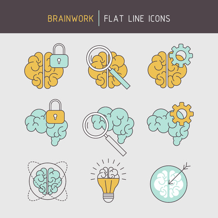 solving: Flat line thinking brain icons of problem solving, ideas searching, achieving, creativity, strategic planning and learning.
