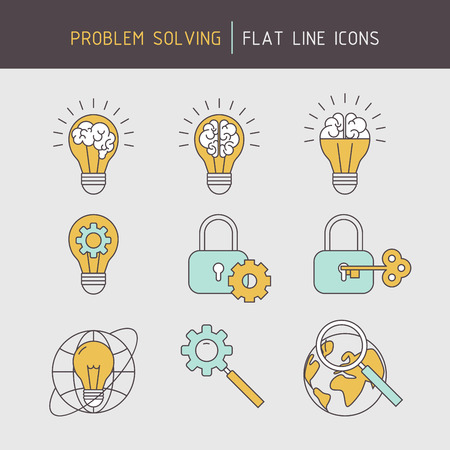 developing: Flat line problem solving icons of ideas searching, developing, creativity, strategic planning.