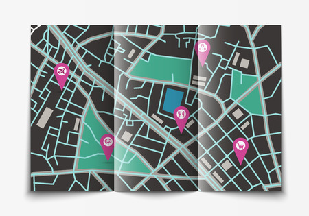 geotag: Vector flat paper city map lying open, top view