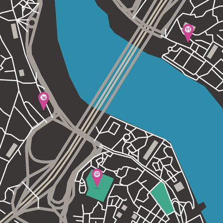 megapolis: Vector flat abstract city map with pin pointers and infrastructure icons, dark colors