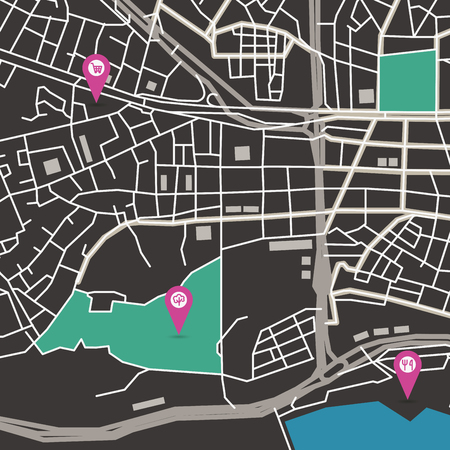 map icon: Vector flat abstract city map with pin pointers and infrastructure icons, dark colors
