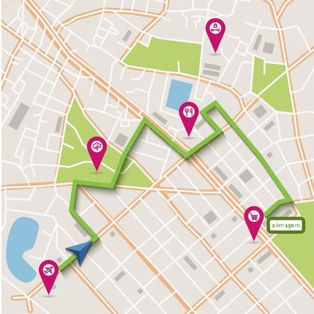 mapa: Vector plana resumen mapa de la ciudad con los punteros de pasador, ruta de navegación y los iconos de infraestructura