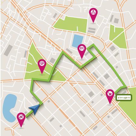 Wektor abstrakcyjne płaska mapa miasta ze wskaźnikami pin, trasy nawigacji i ikony infrastruktury