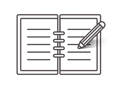 open notebook: Flat line open notebook icon with pencil