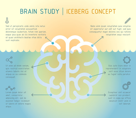 creativity and innovation: Vector flat brain in water, brain studying concept iceberg metaphor Illustration