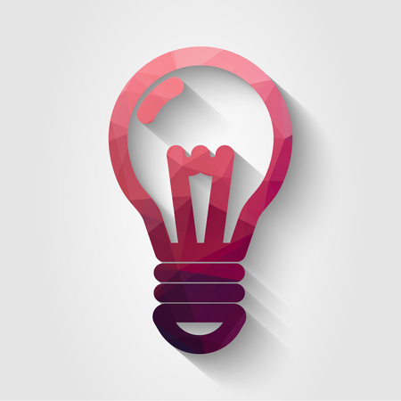Vector flat style bulb icon made of polygons, in red color with long shadow