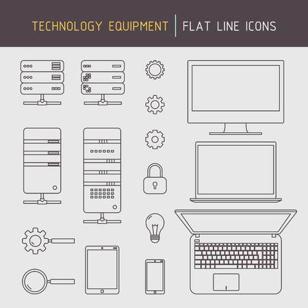 Flat line technology equipment icons of computer, laptop, server, mobile devices and data related elements