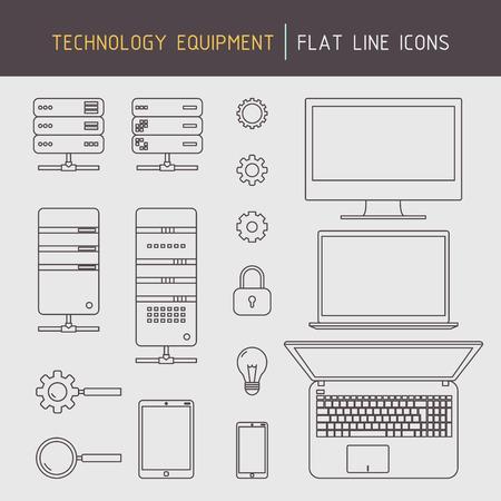 Vlakke lijn technologie apparatuur pictogrammen van de computer, laptop, server, mobiele apparaten en data-gerelateerde elementen Stock Illustratie