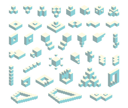 Vector set of isometric flat cubes constructor, abstract shapes and icons made of blue cubes