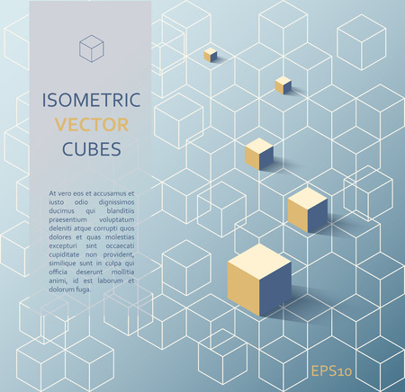 Vector illustration of isometric colorful and contour cubes, architectural concept, abstract 3d