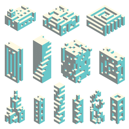 three dimensional: Vector set of abstract buildings made of isometric cubes, architectural constructor