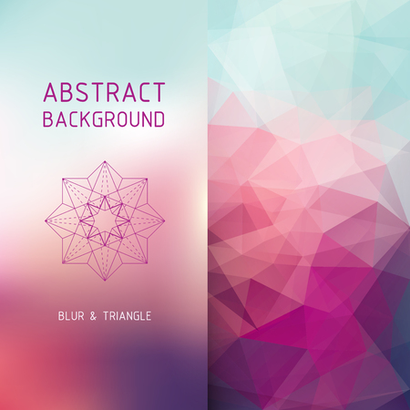 design elements: Vector abstract background in two parts - blurred and polygonal, graphic design template