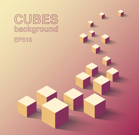 architectural team: Vector illustration of abstract isometric colorful cubes in a line with long shadow on pink gradiend background and copyspace, architectural concept