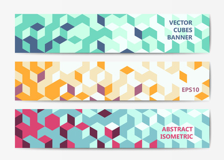 header: Abstract polygonal banner templates with colorful isometric cubes patterns
