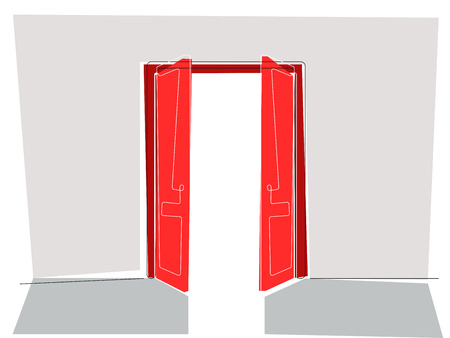 doorframe: Vector illustration of two red doors opening to the light, flat line style