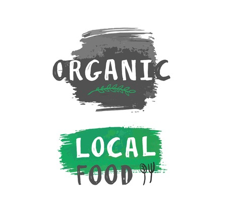 eco natural organic local food label with leaf and cutlery icons on brushed splash Illustration