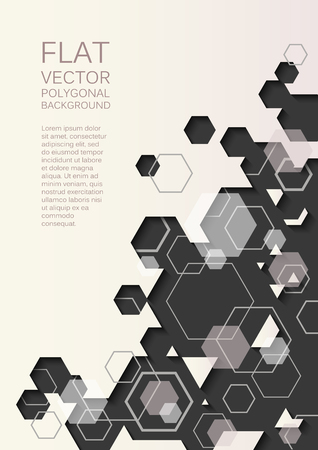 Vector abstract modern background with polygonal shapes - hexagons and lines Illustration