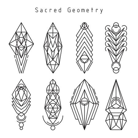 Vector lineaire heilige geometrie embleem set, dunne lijn design-logo en tekenen van spirituele geometrische vormen Stock Illustratie
