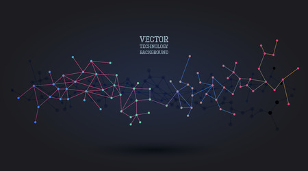 stars sky: Vector geometric wireframe background with lines and dots connected, molecule metaphor, science technology concept