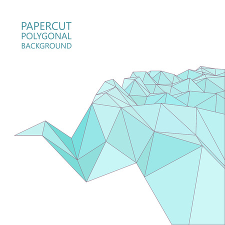 papercut: Vector abstract papercut background, flat triangle design in blue colors Illustration