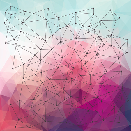 splinter: Vector abstract background, triangle design with wireframe and dots