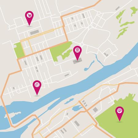 infraestructura: Vector plana resumen mapa de la ciudad con los punteros de pasador y los iconos de infraestructura