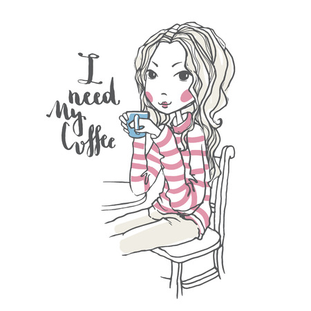 Beautiful chic girl holding coffee cup, romantic girl vector illustration, cute girl, fashion concept, woman posing in cafe