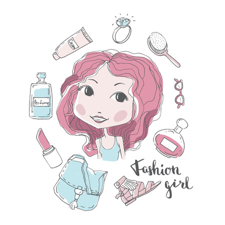 Beautiful fashion girl, model girl vector illustration, cute girl, shopping concept, woman head with cosmetics and accesories Illustration