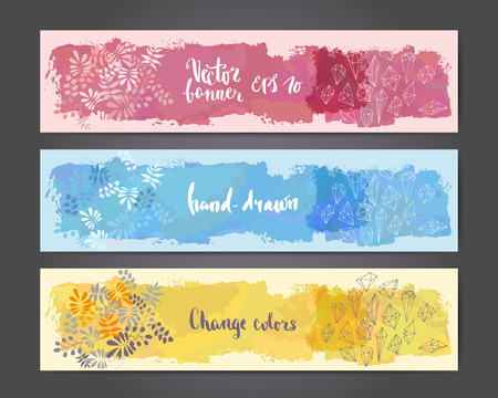 Abstract hand drawn brushed banner templates with leaves and crystals drawing