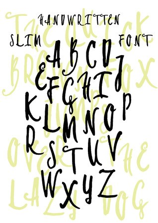 Handwritten decorative font, vector script calligraphy. Hand drawn brushed capital letters, doodle alphabet Illustration